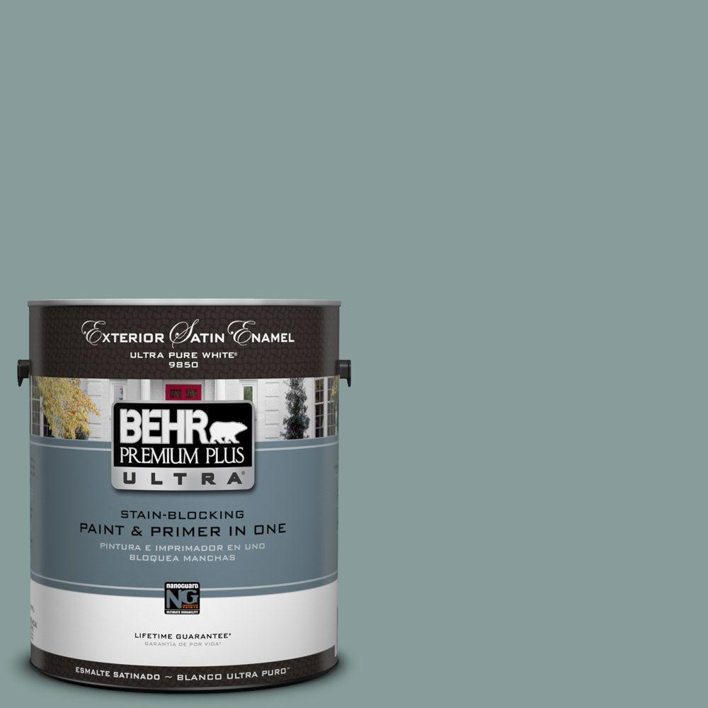 Behr Premium Plus Ultra 1 Gal Ul220 18 Agave Satin Enamel Exterior Paint 985401 The Home Depot
