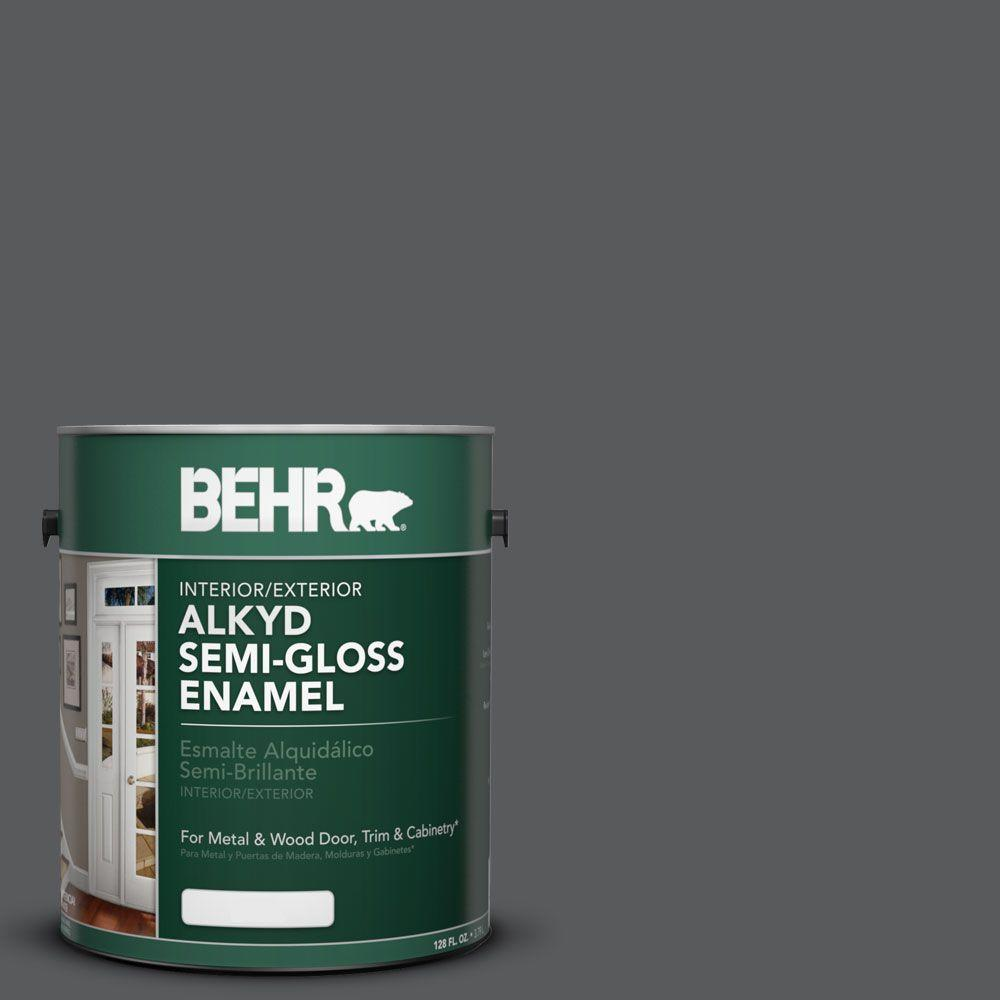 1-gal. #AE-53 Midnite Hour Semi-Gloss Enamel Alkyd Interior/Exterior Paint