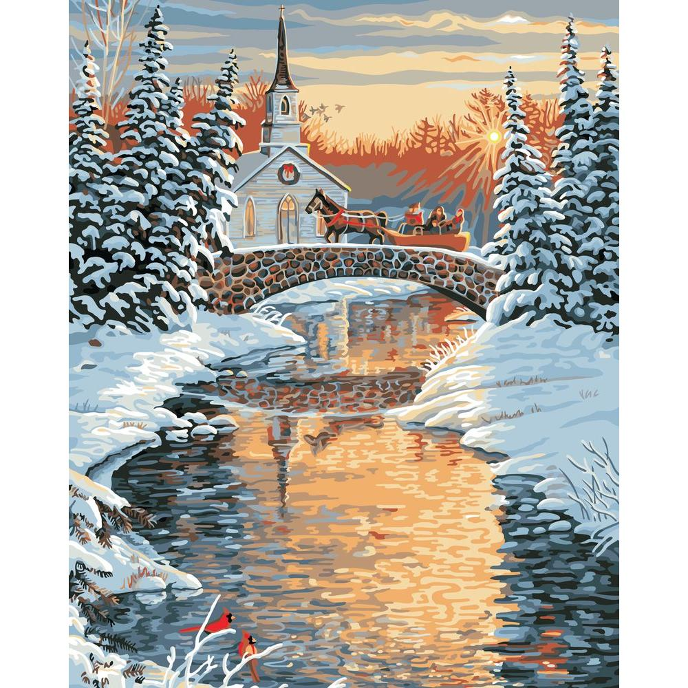Plaid Paint by Number 16 in. x 20 in. 19-Color Kit Over The River Paint by Number
