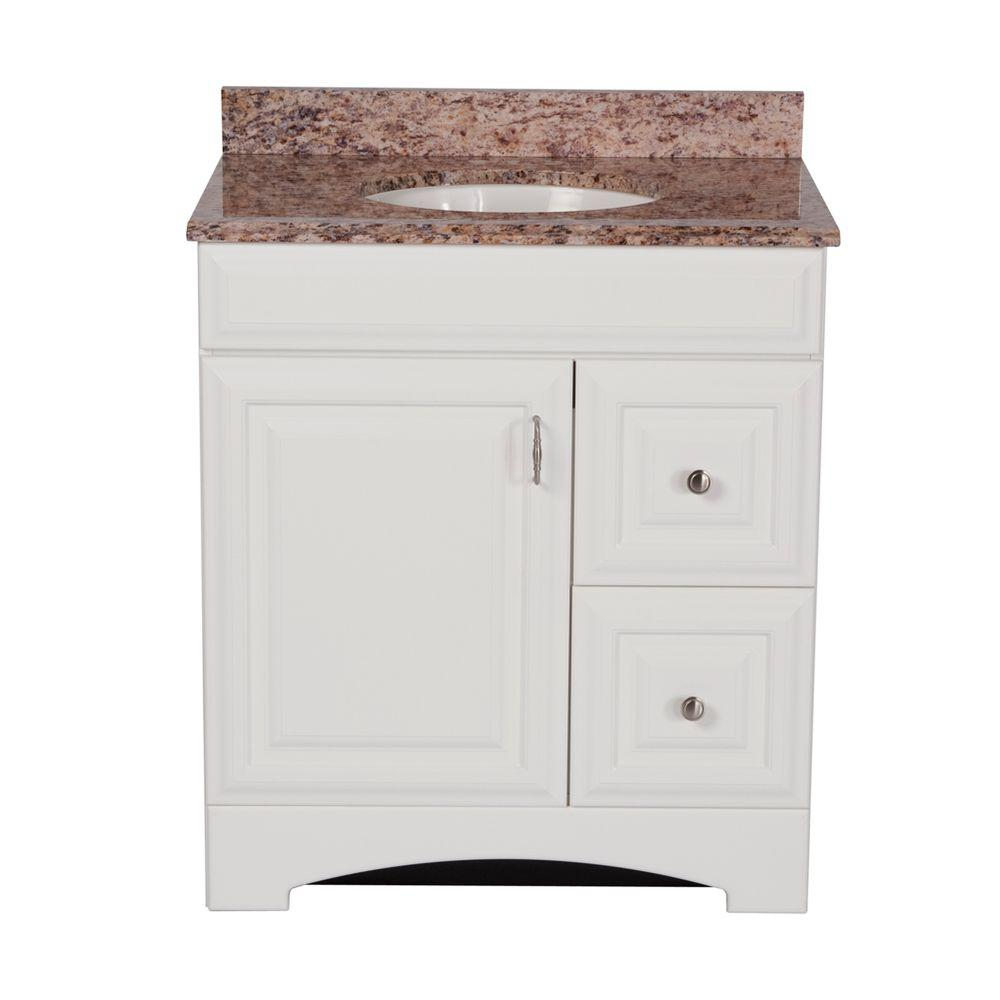 Providence 30 in. Vanity in White with Stone Effects Vanity Top