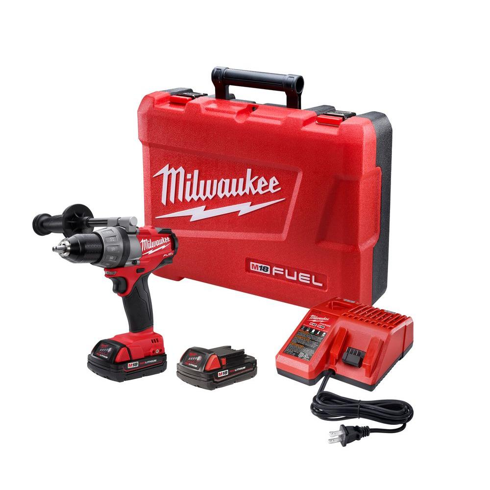 Milwaukee M18 FUEL 18-Volt Lithium-Ion Brushless 1/2 in. Drill/Driver Compact Battery Kit