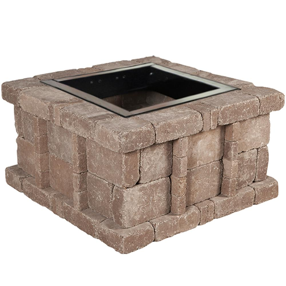 Pavestone RumbleStone 38.5 in. x 21 in. Square Concrete Fire Pit Kit No. 5 in Cafe