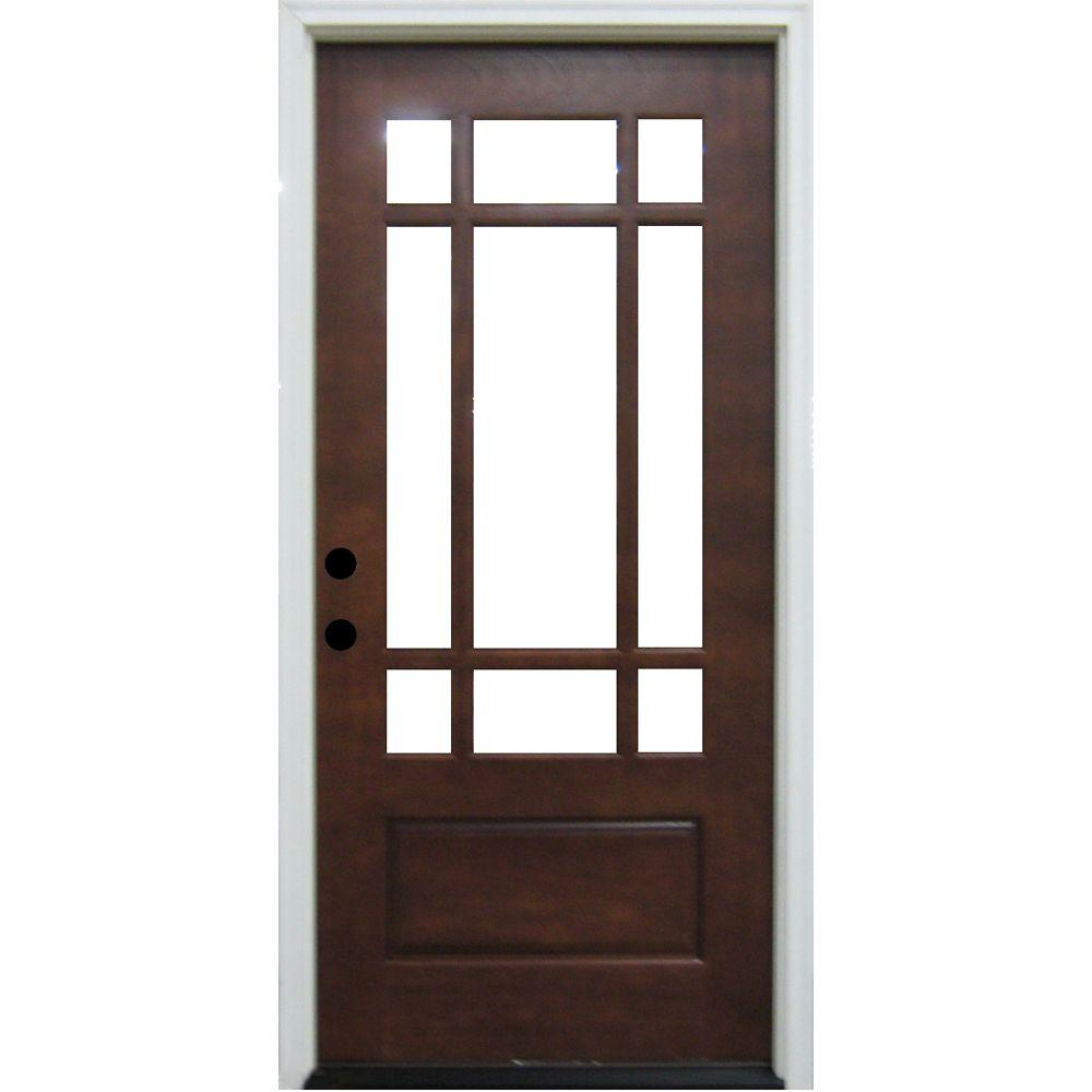 Steves & Sons Craftsman 9 Lite Stained Mahogany Wood Prehung Front Door - DISCONTINUED