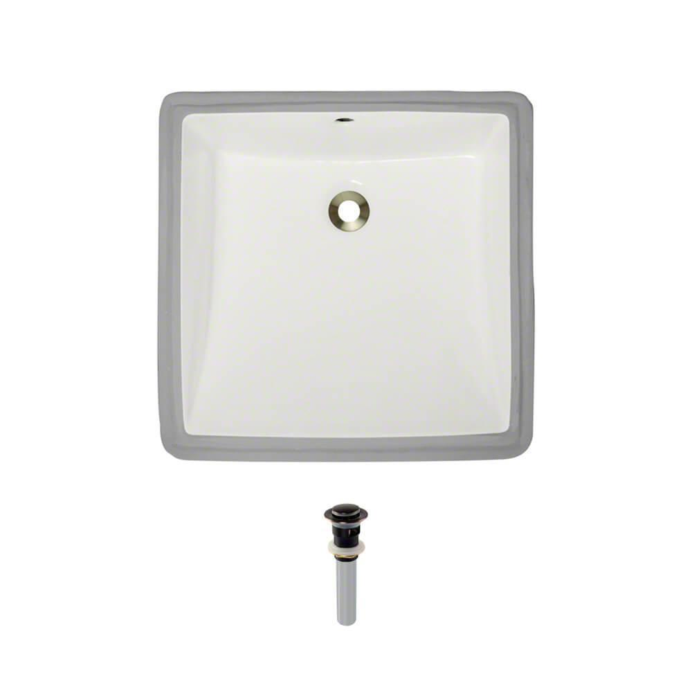 Under-Mount Porcelain Bathroom Sink in Biscuit with Pop-Up Drain in Antique