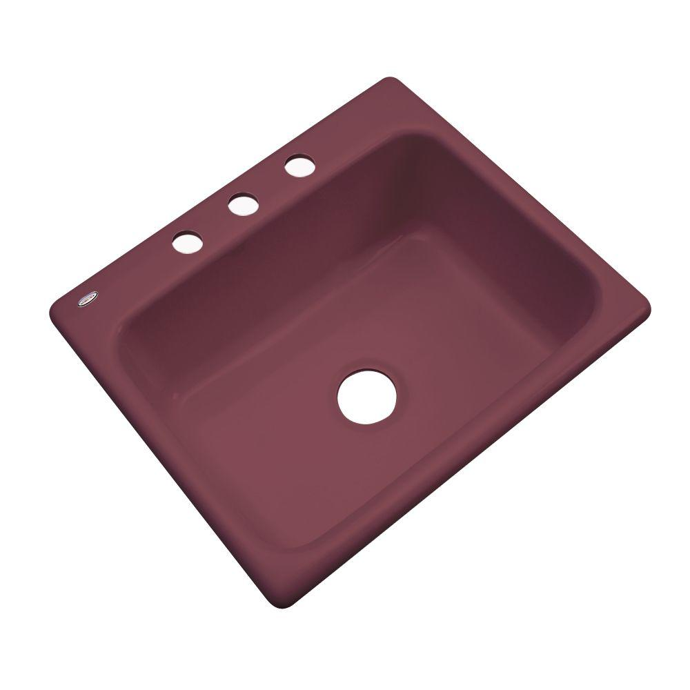 Thermocast Inverness Drop-In Acrylic 25 in. 3-Hole Single Basin Kitchen Sink in Raspberry Puree