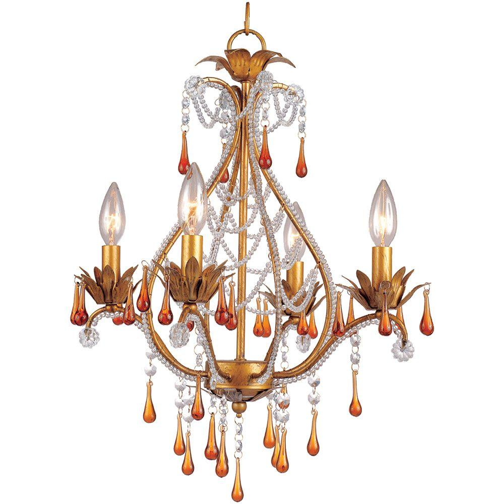 Josephine 4-Light French Gold Mini Chandelier With Amber Drop Beads
