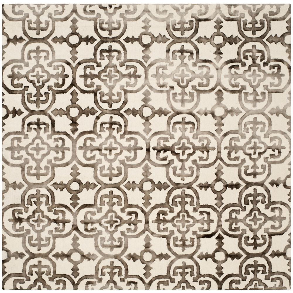 Dip Dye Ivory/Brown 7 ft. x 7 ft. Square Area Rug