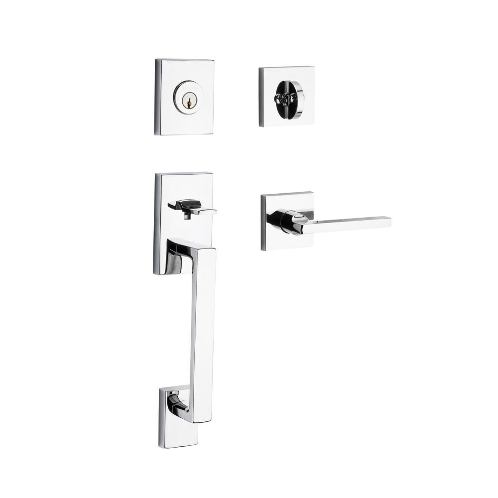 La Jolla Single Cylinder Polished Chrome Handle Set with Square Lever