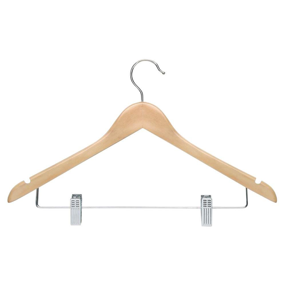 Maple Finish Basic Suit Hanger with Clips (12-Pack)