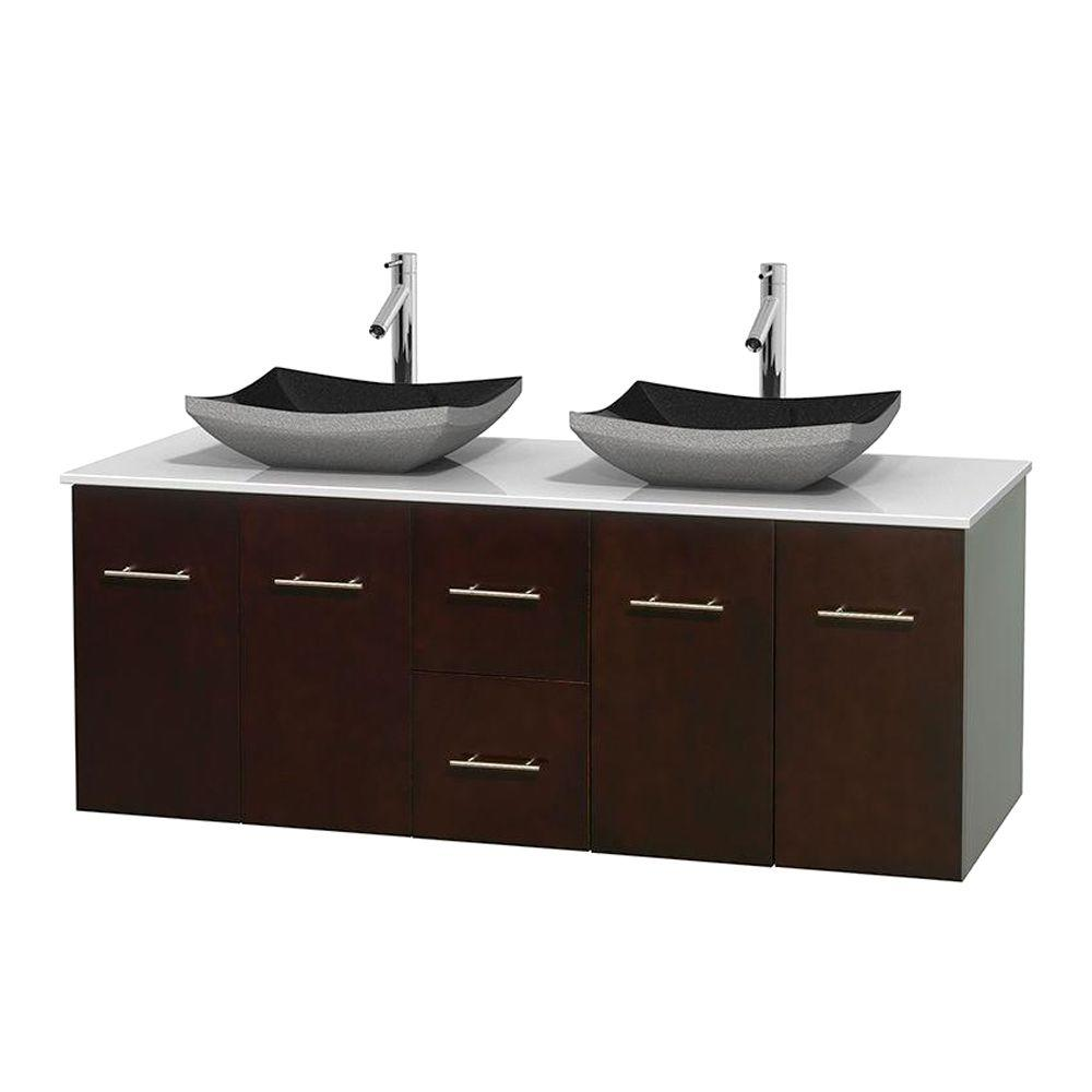 Wyndham Collection Bathroom Centra 60 in. Double Vanity in Espresso with Solid-Surface Vanity Top in White and Black Granite Sinks WCVW00960DESWSGS1MXX