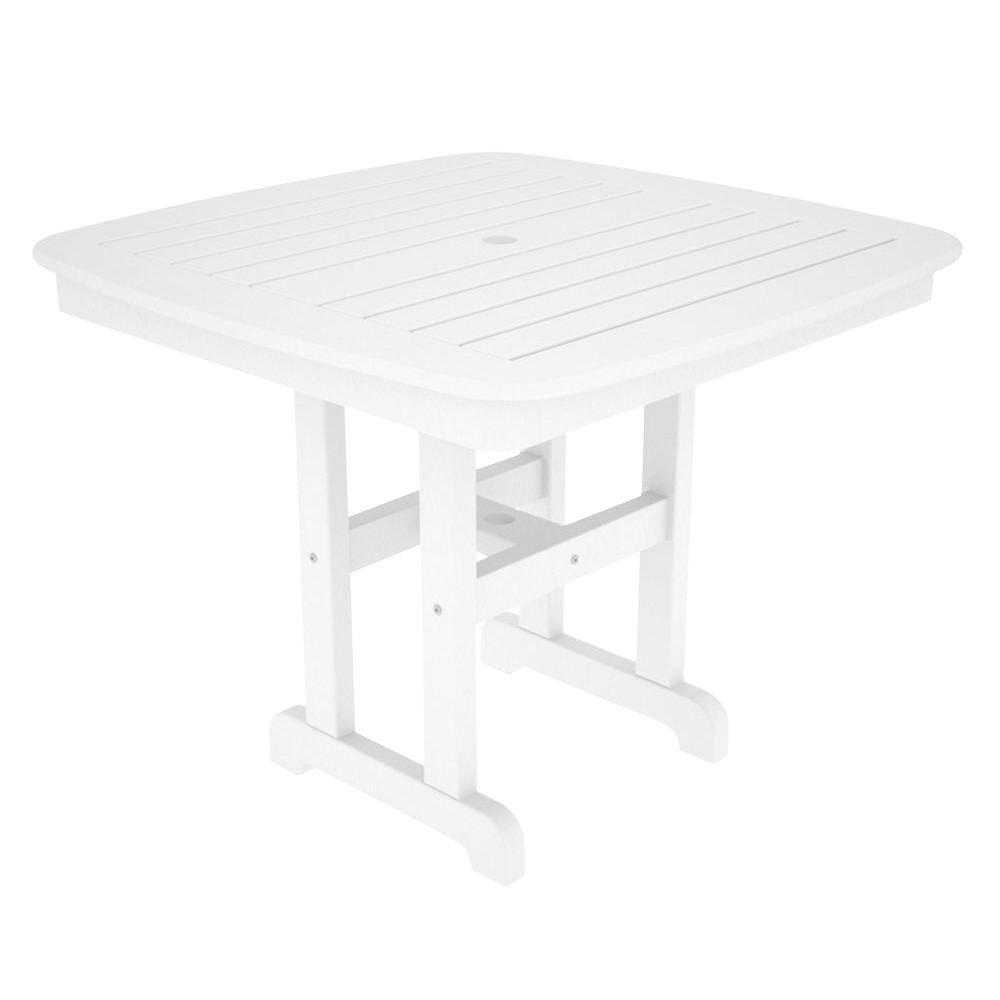 POLYWOOD Nautical 37 in. White Patio Dining Table-NCT37WH - The Home