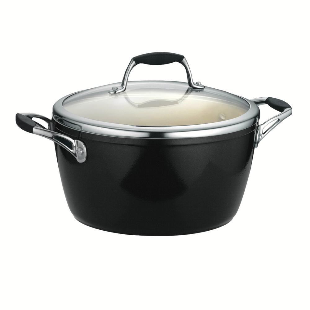 Gourmet Ceramica Deluxe 5 Qt. Covered Dutch Oven in Metallic Black
