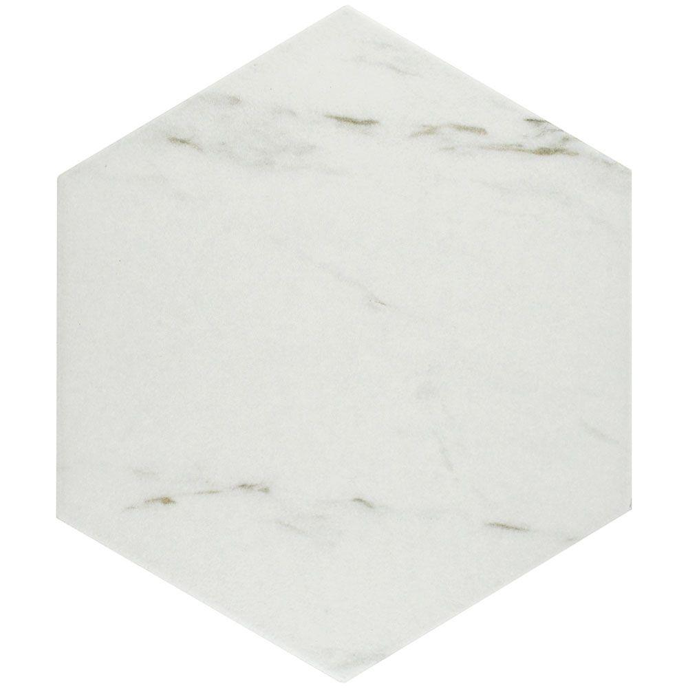 Carrara Hex 8-5/8 in. x 9-7/8 in. Porcelain Floor and Wall