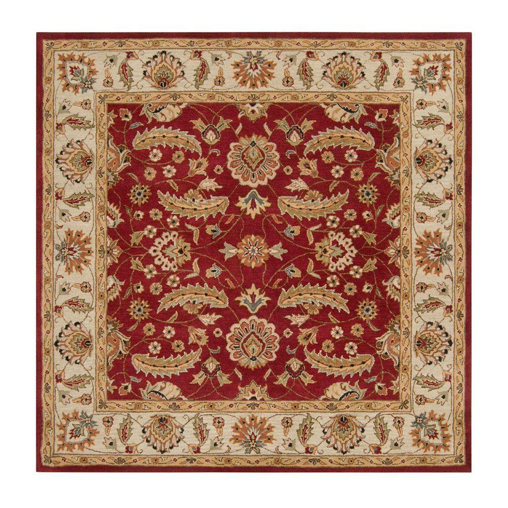 John Red 8 ft. x 8 ft. Square Area Rug