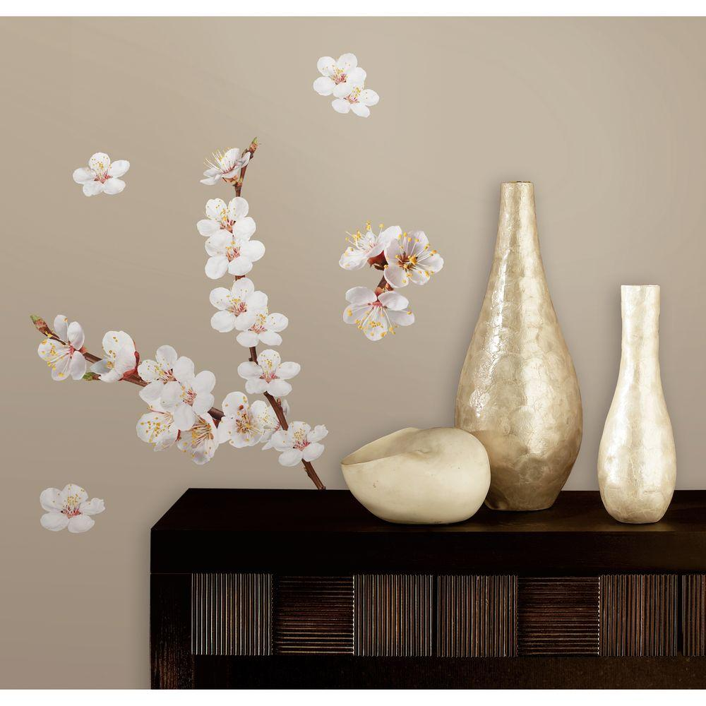 null 10 in. x 18 in. Dogwood Branch 26-Piece Peel and Stick Wall Decals