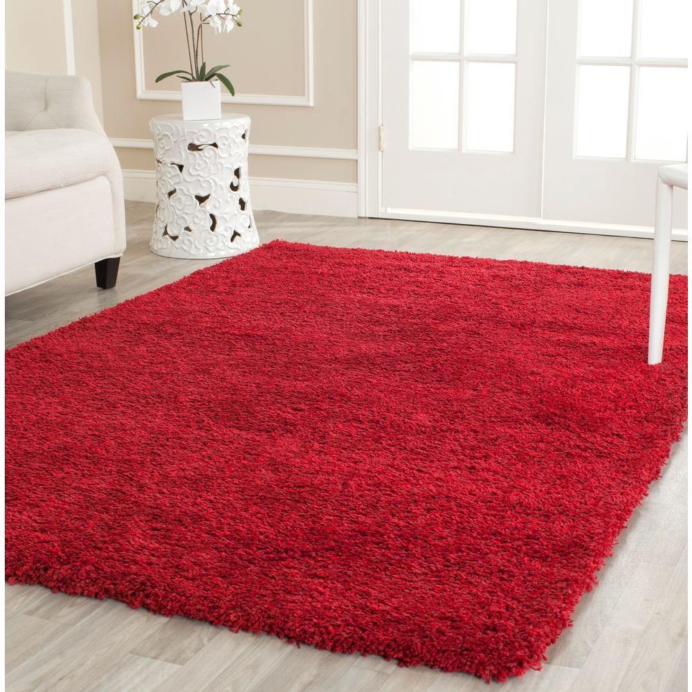 California Shag Red 9 ft. 6 in. x 13 ft. Area