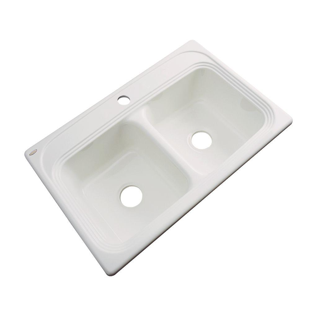 Chesapeake Drop-In Acrylic 33 in. 1-Hole Double Basin Kitchen Sink in