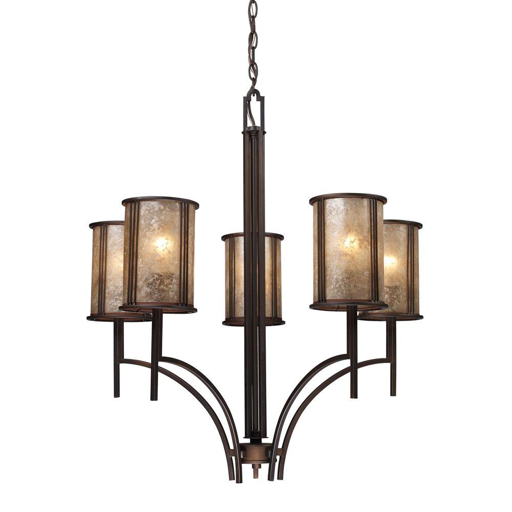 Titan Lighting Barringer 5-Light Aged Bronze Chandelier With Tan Mica Shades