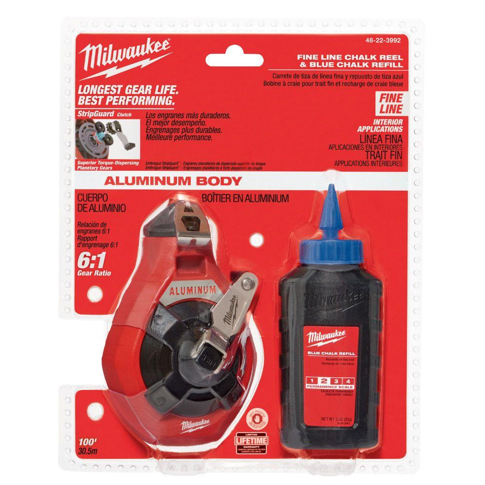 Milwaukee 100 ft. Precision Line Chalk Reel Kit with Blue Chalk-48-22-3992
