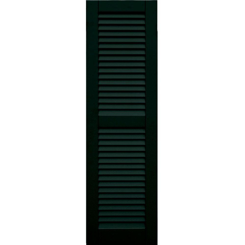 Winworks Wood Composite 15 in. x 52 in. Louvered Shutters Pair #654 Rookwood Shutter Green