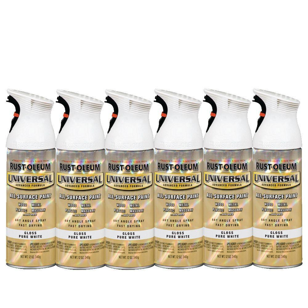 Rust-Oleum Universal 12 oz. Gloss Pure White Spray Paint (6-Pack)-DISCONTINUED