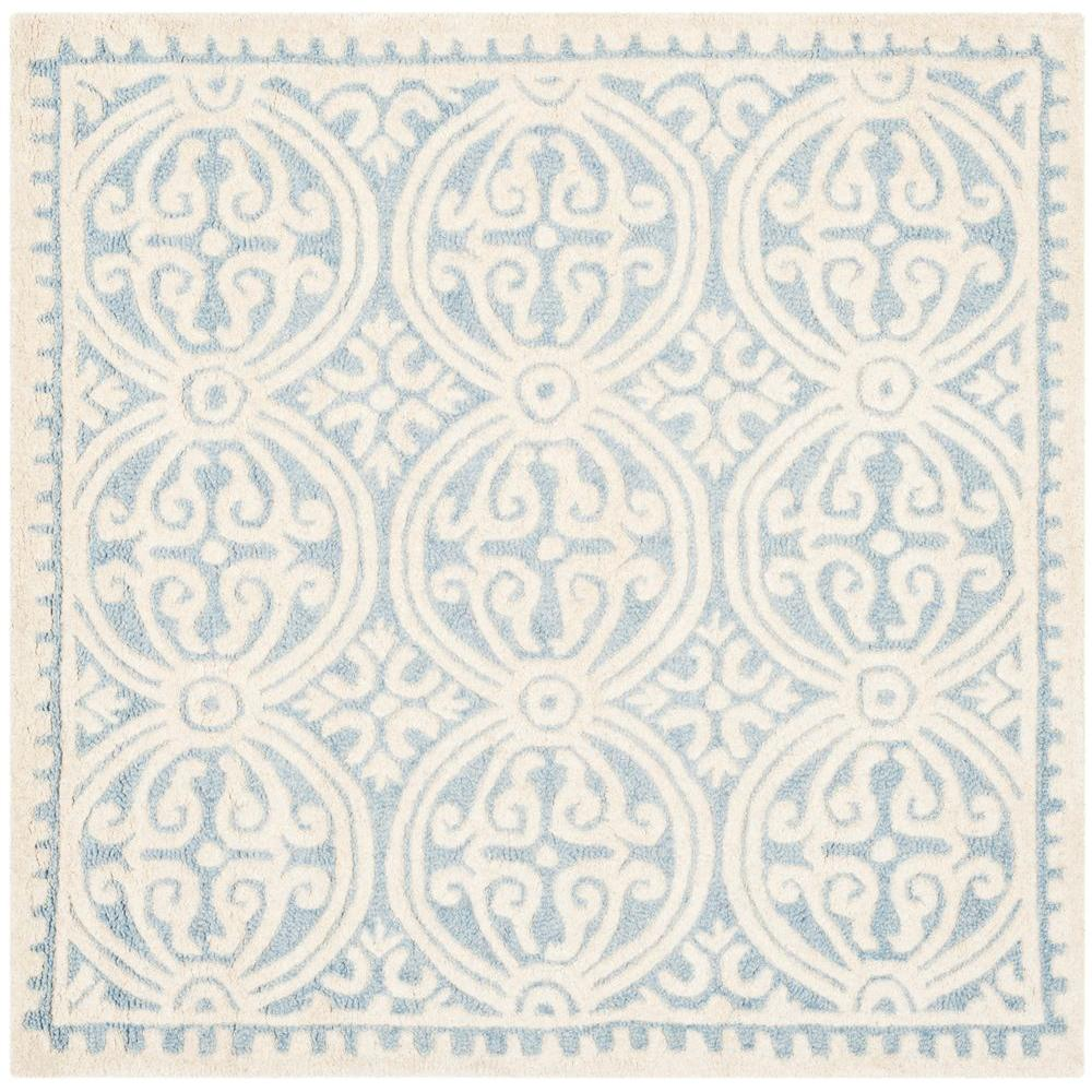 Cambridge Light Blue/Ivory 4 ft. x 4 ft. Square Area Rug