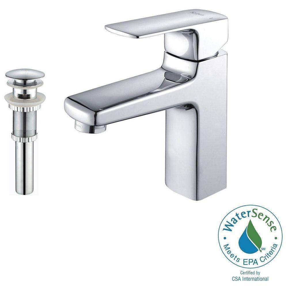 KRAUS Virtus Single Hole Single-Handle High-Arc Vessel Bathroom Faucet with