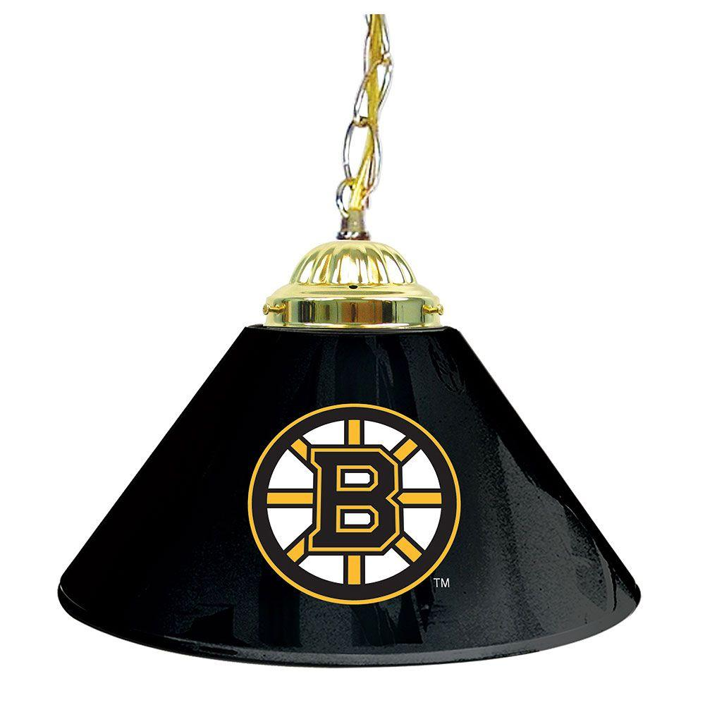 null NHL Boston Bruins 14 in. Single Shade Stainless Steel Hanging Lamp