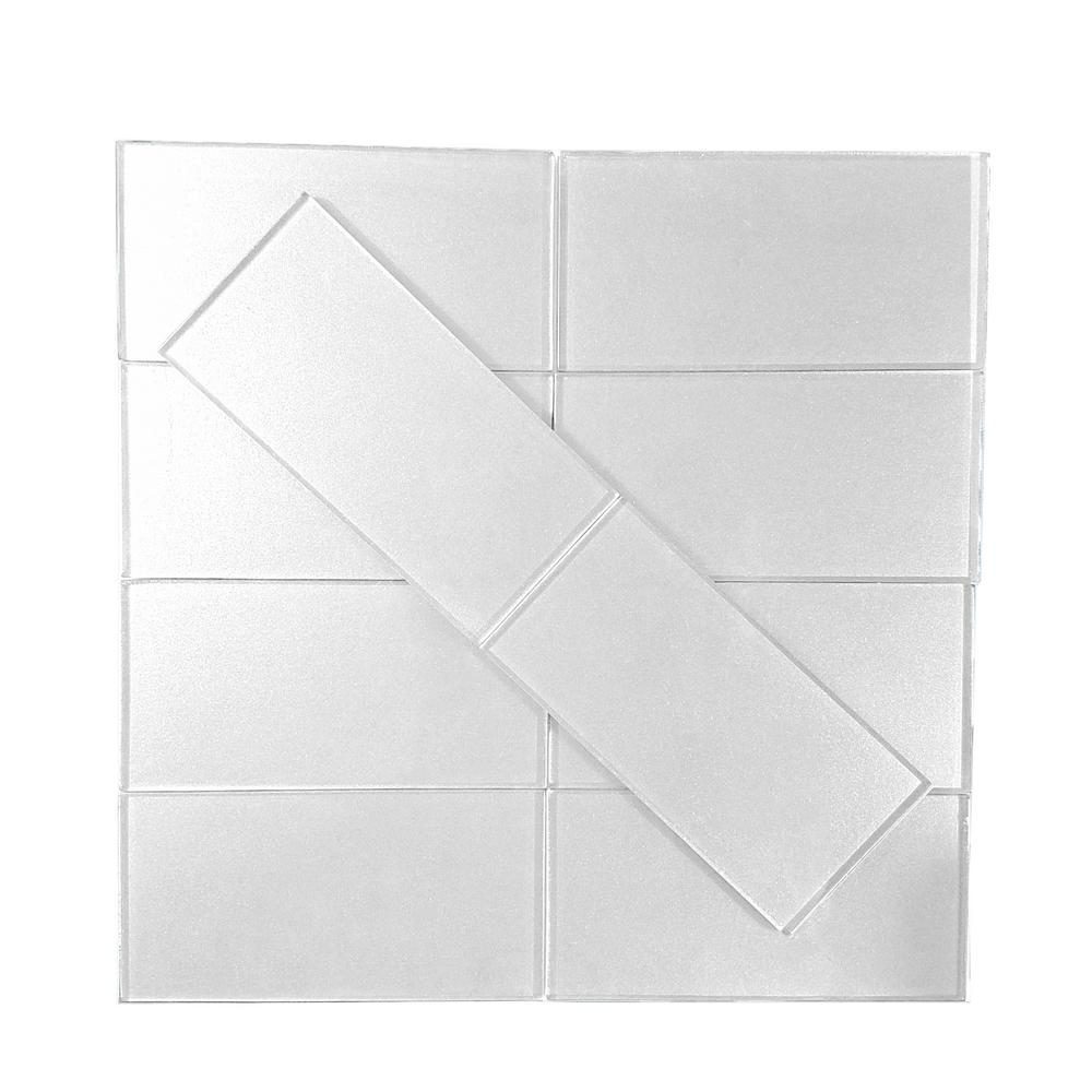 Metallics Silver 3 in. x 6 in. Glass Wall Tile (1