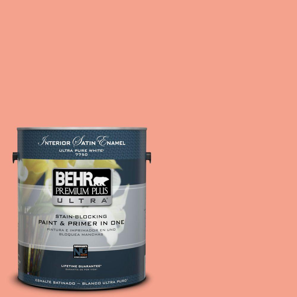 BEHR Premium Plus Ultra Home Decorators Collection 1-gal. #HDC-MD-18 Peach Mimosa Satin Enamel Interior Paint