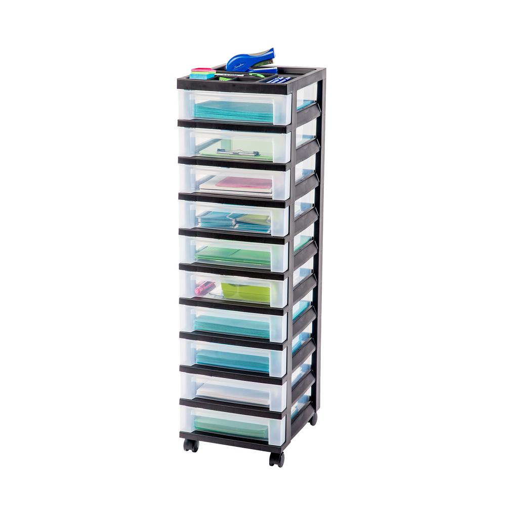108 Qt. 10-Drawer Storage Bin in Black