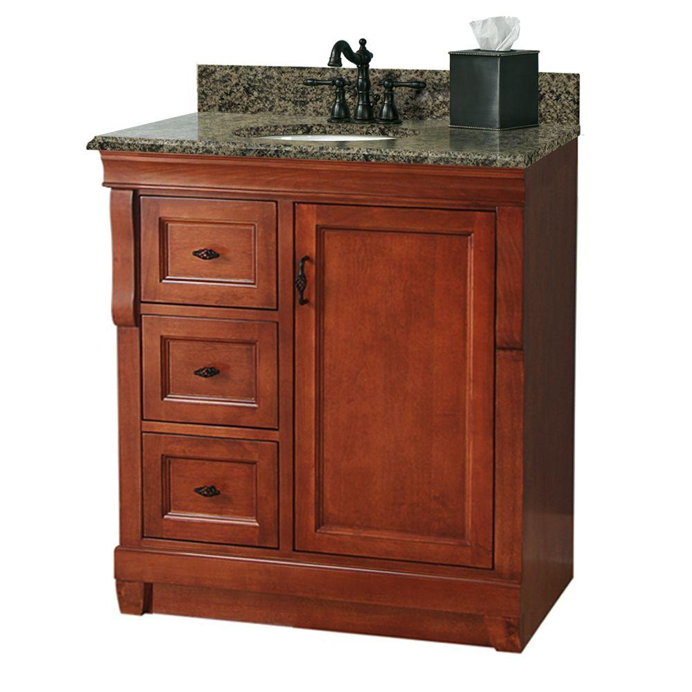 Foremost Naples 31 in. W x 22 in. D Vanity with Left Drawers in Warm Cinnamon with Granite Vanity Top in Quadro