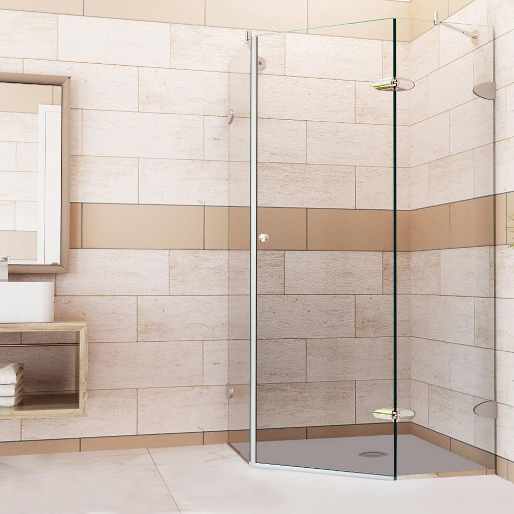 Vigo Verona 34.125 in. x 73.375 in. Frameless Neo-Angle Shower Enclosure