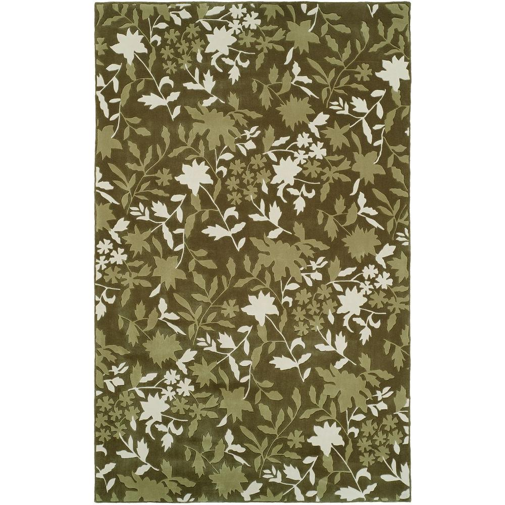 HRI Camelot II Green 8 ft. x 11 ft. Area Rug