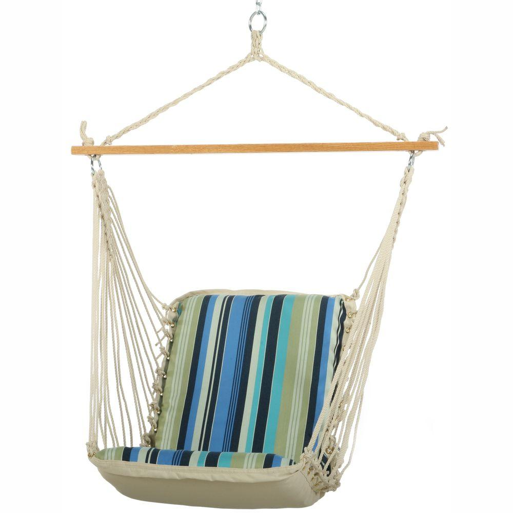 Pawleys Island 2 ft. Wide Single DuraCord Cushioned Hammock Swing Beaches Stripe