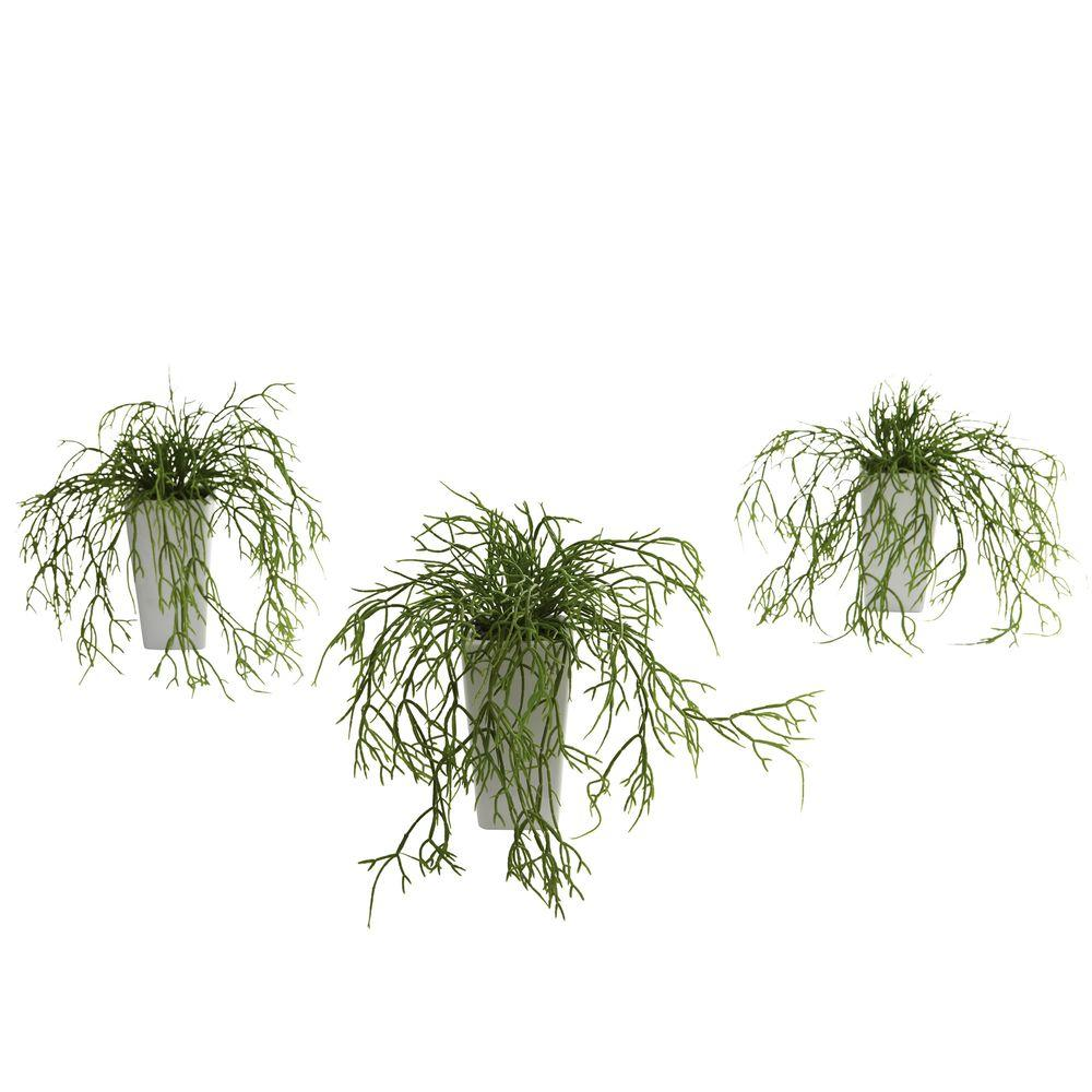 Nearly Natural Wild Grass with White Vase (Set of 3)