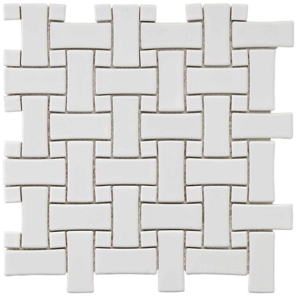 Merola Tile Basket Weave White 9-3/4 in. x 9-3/4 in. x 5 mm Porcelain Mosaic Floor and Wall Tile (6.7 sq. ft. / case)-DISCONTINUED