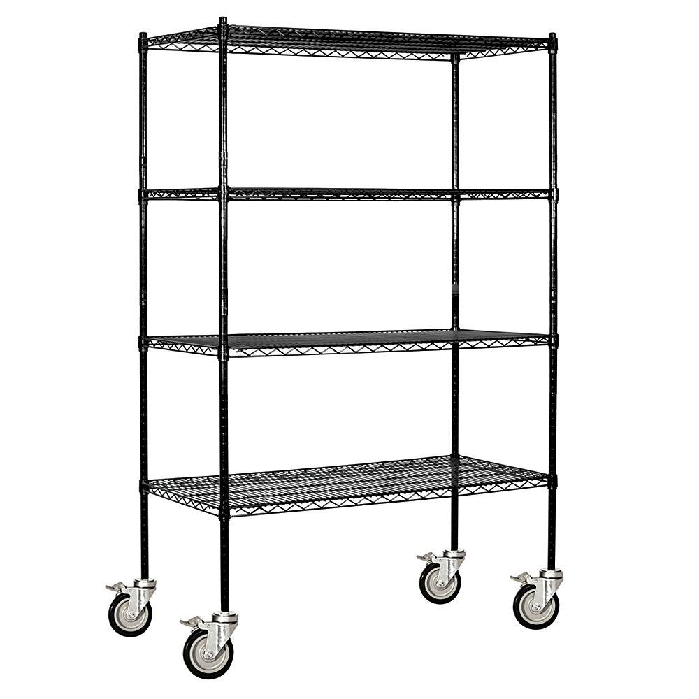 Salsbury Industries 9600M Series 48 in. W x 80 in. H x 18 in. D Industrial Grade Welded Mobile Wire Shelving unit in Black