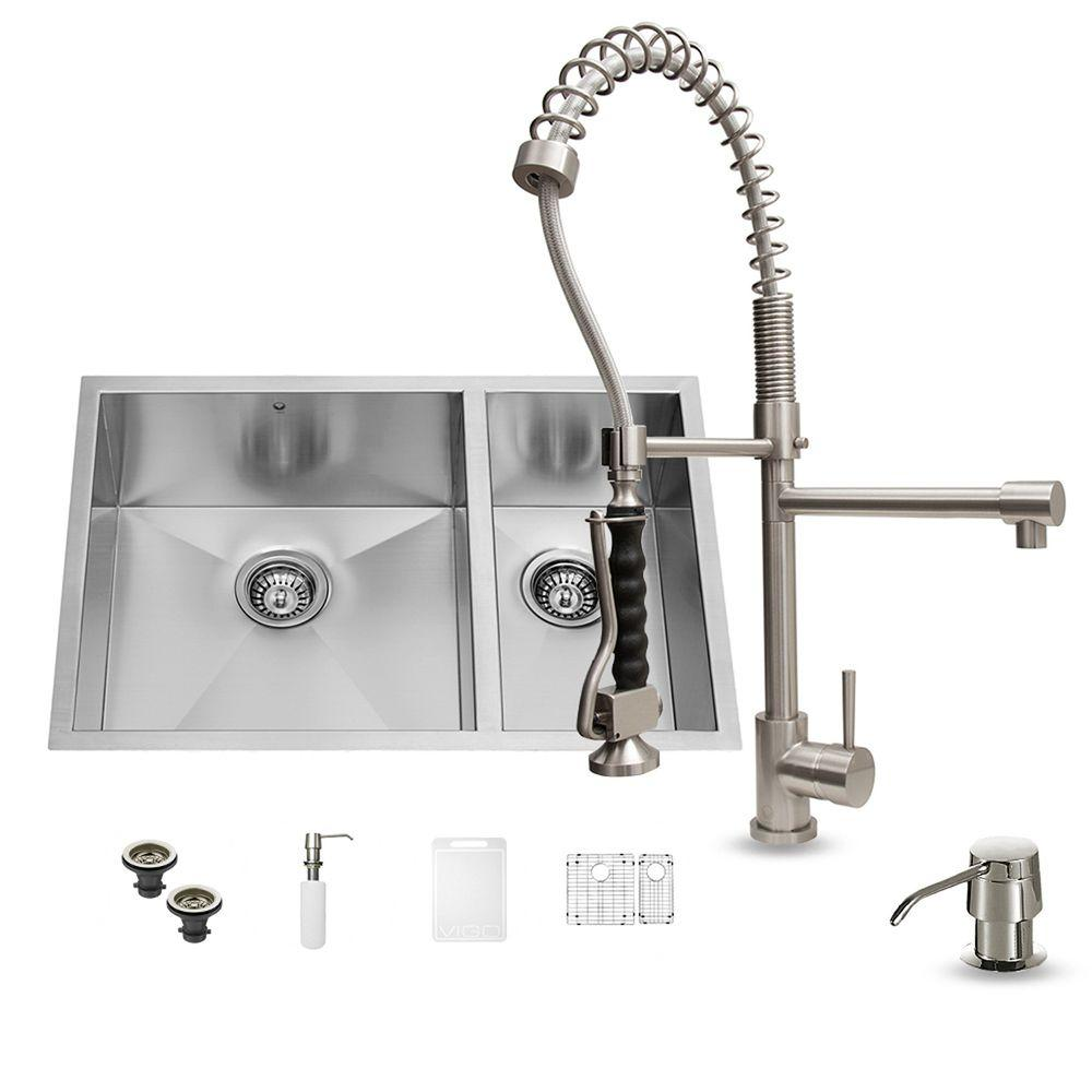 All-in-One Undermount Stainless Steel 29 in. 0-Hole Double Basin Kitchen Sink