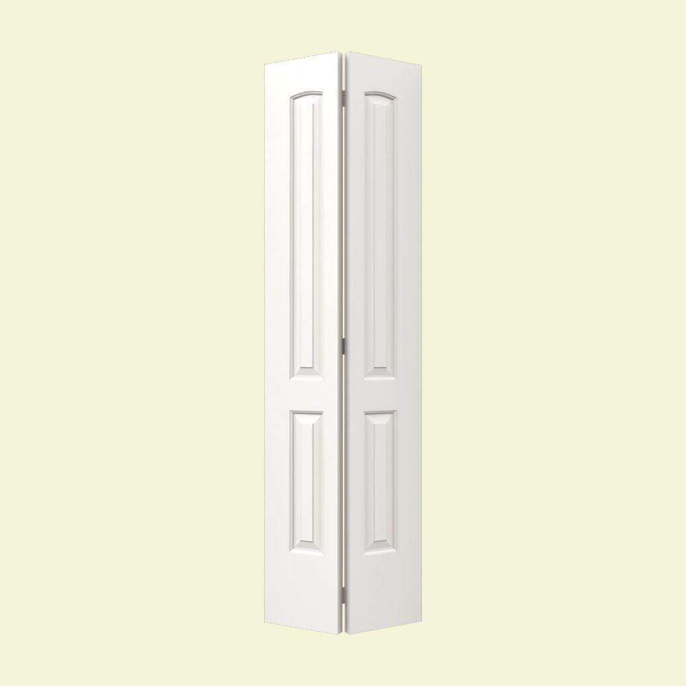 JELD-WEN 24 in. x 80 in. Molded Smooth 2-Panel Arch Brilliant White Hollow Core Composite Bi-fold Door
