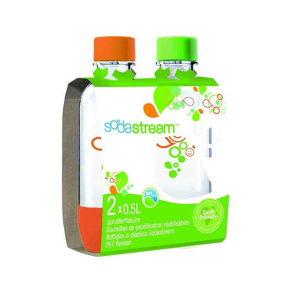 SodaStream 0.5 L Carbonating Bottles-Orange/Green (2 Twinpacks)