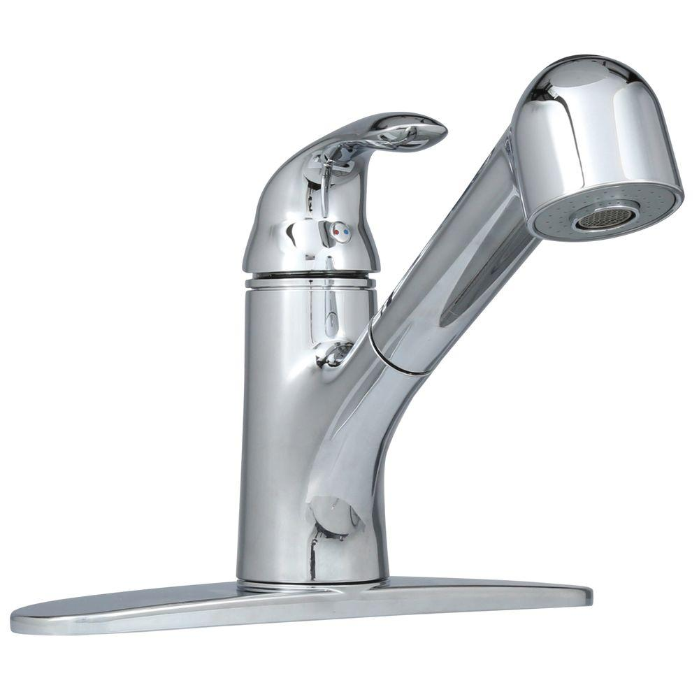 Non-Metallic Single-Handle Pull-Out Sprayer Kitchen Faucet in Chrome