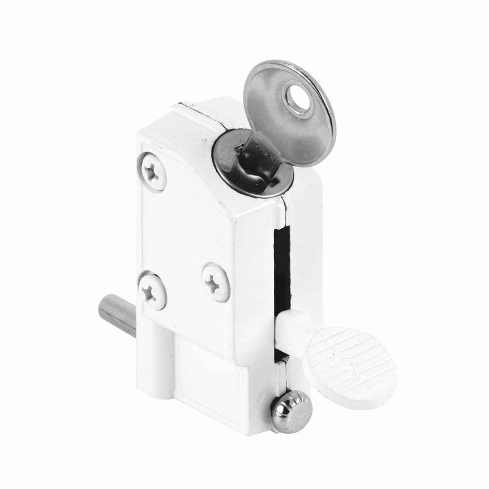 White Keyed Step-On Sliding Door Lock