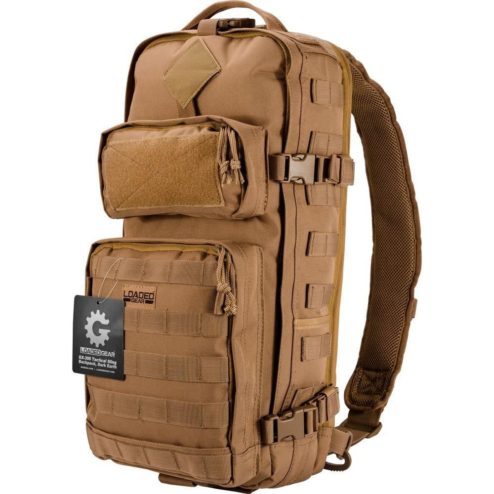 Loaded Gear GX-300 Medium Dark Earth Ballistic Polyester Tactical Sling Backpack