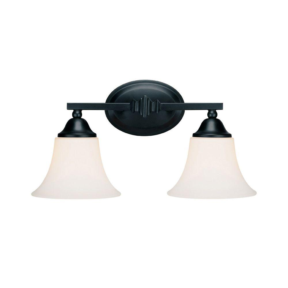 Filament Design Johnson 2-Light Wall Basic Black Incandescent Vanity-DISCONTINUED