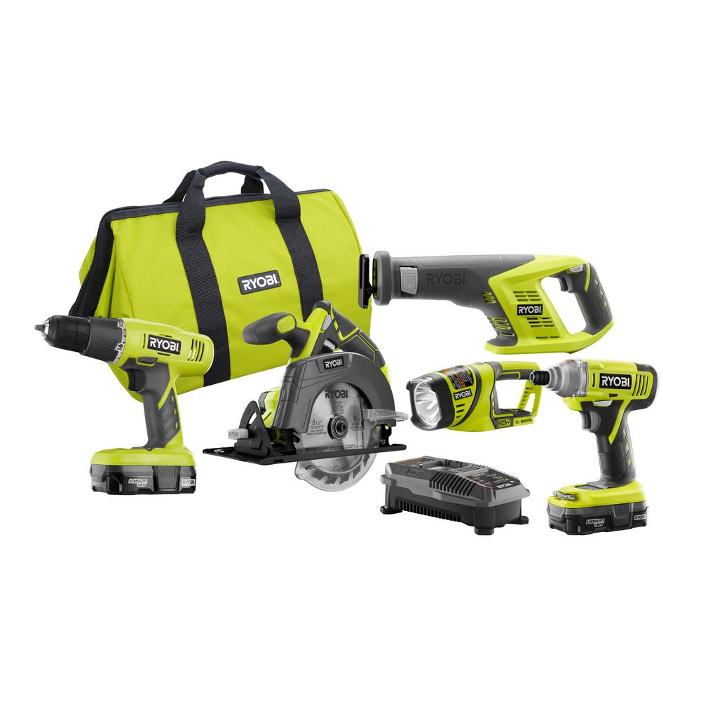 Ryobi 18-Volt Lithium-Ion Cordless Combo Kit (5-Tool)-P1897N - The Home Depot