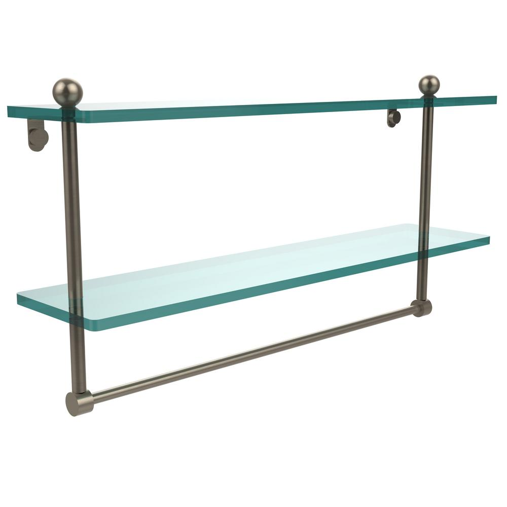 Allied Brass 22 in. 2-Tier Glass Shelf with Integrated Towel Bar in Antique Pewter