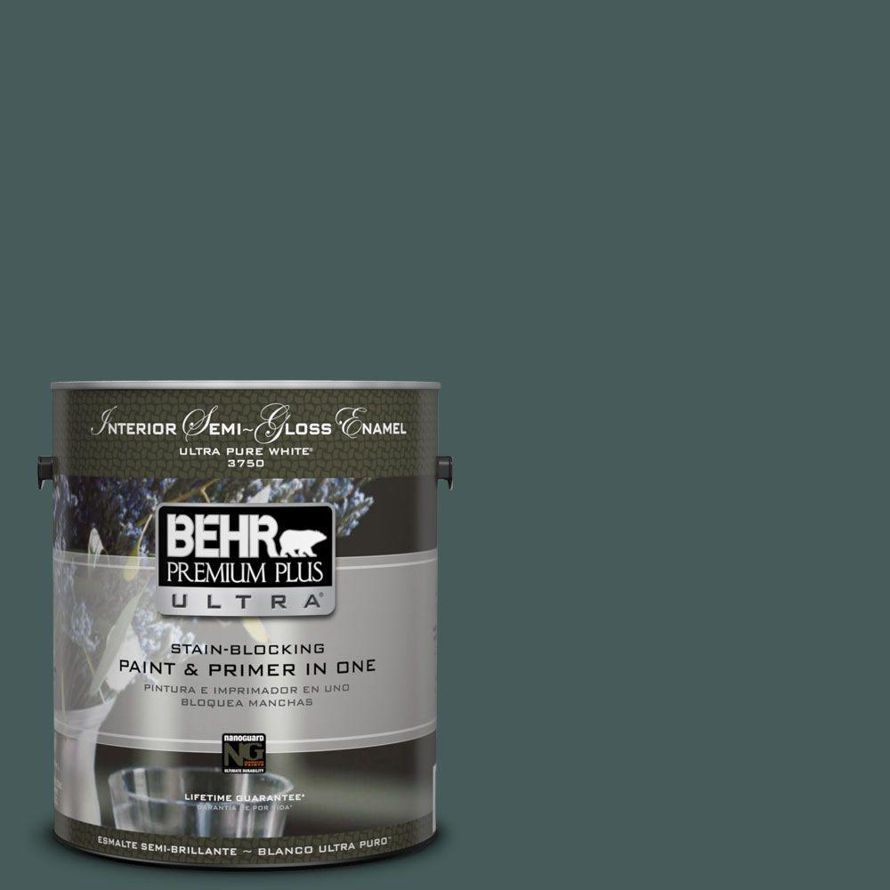 BEHR Premium Plus Ultra 1-gal. #490F-7 Jungle Green Semi-Gloss Enamel Interior