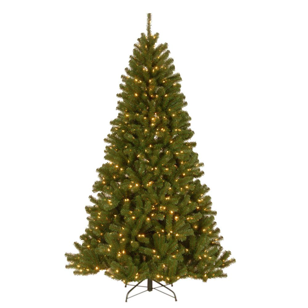 7 ft. North Valley Spruce Hinged Artificial Christmas Tree with 500 Clear Lights, Greens