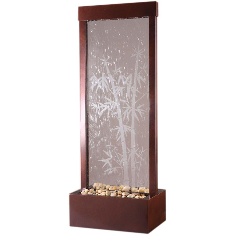 48 in. Floor Fountain Center-Mount Clear Glass-Etched Bamboo Dark Copper Frame